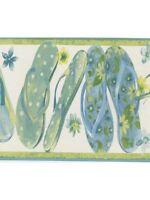 Ocean Blue & Lime Green Flip Flops Wallpaper Border Kb79719