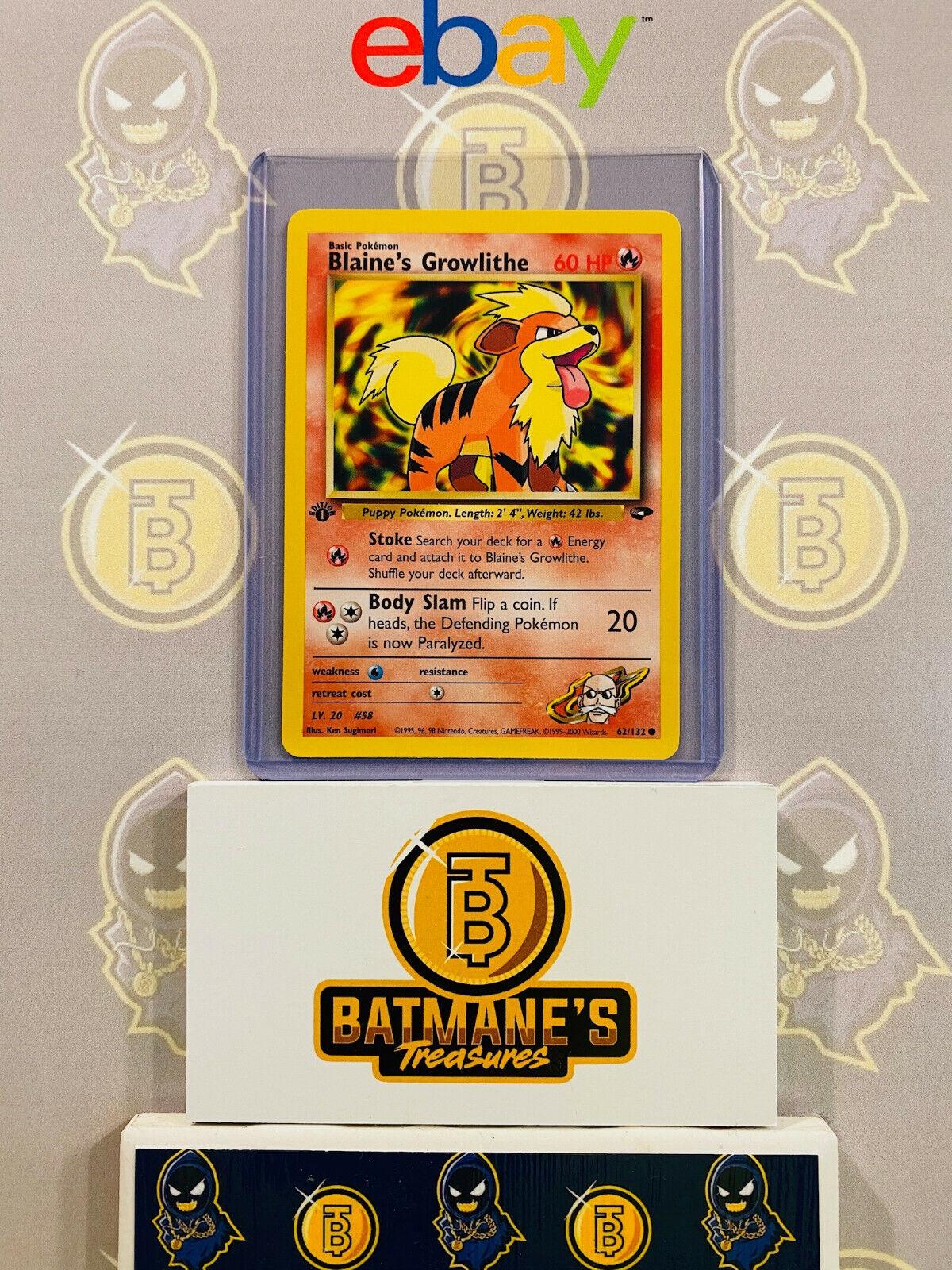 NM//M Blaine's Growlithe 62//132 Gym Challenge Unlimited Pokemon Card