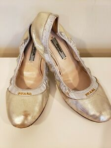 silver scrunch ballet flats size 36 EUR