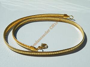 Chaine-Collier-Ras-de-Cou-45-cm-Maille-Serpentine-Incurve-Plaque-Or-Acier-6-mm