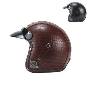 Durable ABS PU Leather Unisex Motorcycle Retro Harley Half Helmet DOT 3 Size SFW