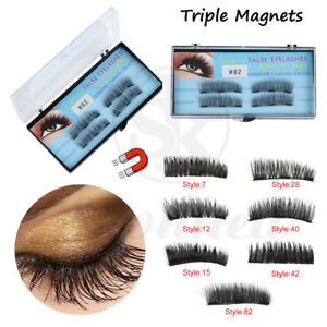 81fb7f068b2 4Pcs Glue-free Triple Magnetic Natural Thick Cross False Eyelashes ...
