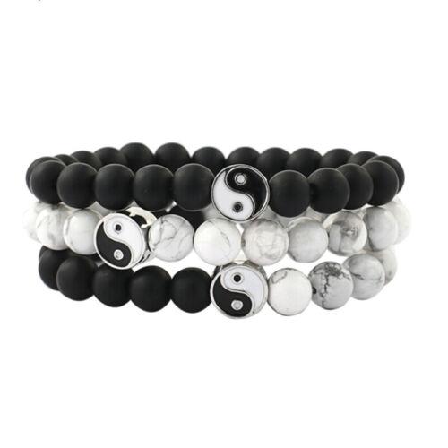 Männer Frauen Natürliche Edelstein Perlen Stein Yin Yang Perlen Armband SchmCRH