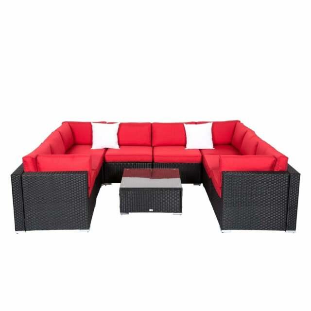 2-9 PCs Patio Rattan Wicker Sofa Set Outdoor Sectional Furniture W/Red  Cushion