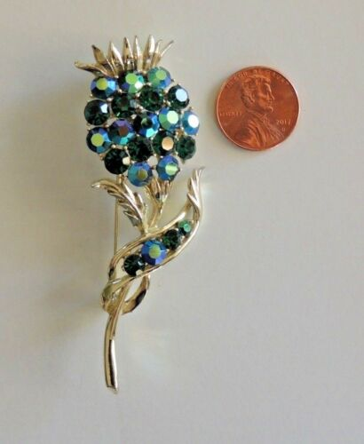 Vintage Brooch Victorian Style Floral Intricate Design Large Emerald Green Glass Cabochon