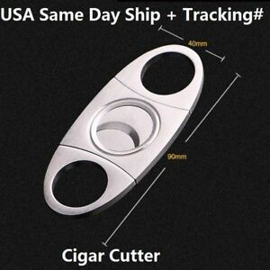 Silver-Stainless-Steel-Pocket-Cigar-Cutter-Knife-Scissors-Double-Blades-USA-Ship
