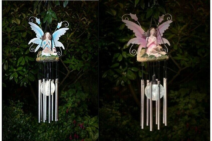 Solar Powered Fairy Wind Chime Colour Changing LED Crackle Ball Garden Decor