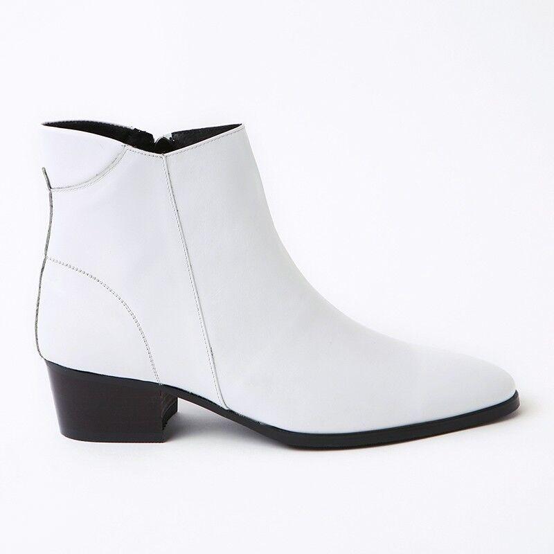 Men's plain toe white leather side zip 1.97