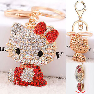 772e3f54c Red Hello Kitty Cute Key Chain Crystal Ring Purse Car Bling Pendant ...
