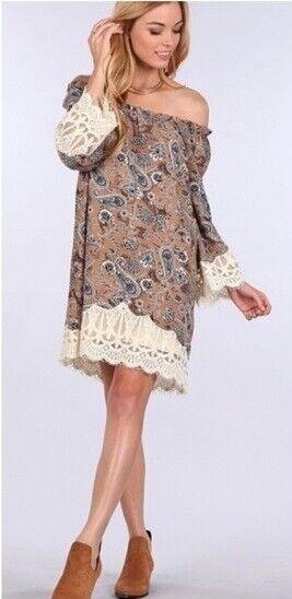 Blau Pepper   Lace Trim Paisley Print Tunic Dress