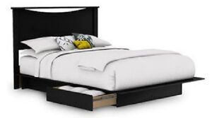 NEW Full / Queen Storage Platform Bed and Headboard in Black SHIPS FREE
