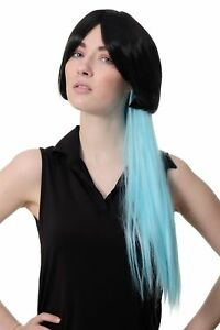 Seduisant-Girly-Cosplay-Perruque-Carre-Noir-Tresse-Queue-Long-Bleu-Clair-SA074