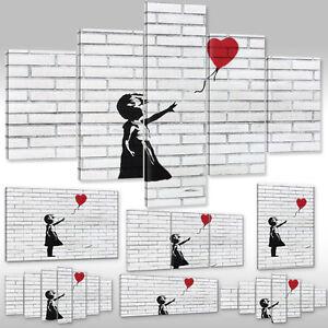 Quadro-su-Tel-Tela-via-Art-Banksy-Ragazza-con-Rosso-Palloncino-ad-Aria