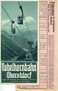 Nebelhornbahn Oberstdorf Prospekt und Fahrplan 1936 Bayern Seilbahn