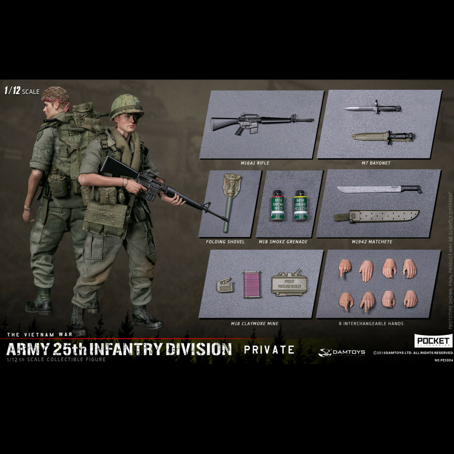 DAMTOYS 1/12th PES004 Army 25th Infantry Division Private The Vietnam War Figure
