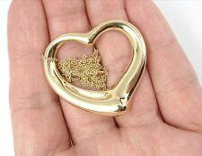 $2750 Tiffany &Co Peretti XLarge 18K Gold 35mm Open Heart Pendant Necklace 12.7g