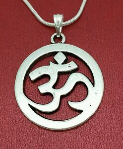 Silver-Plated-Ohm-Necklace-charm-pendant-and-chain-aum-yoga-mantra-meditation-om