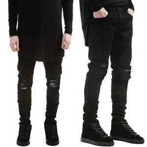 noch nicht vulgär retro Kauf echt Men's Straight Ripped Skinny Jeans Destroyed Frayed Slim Fit ...