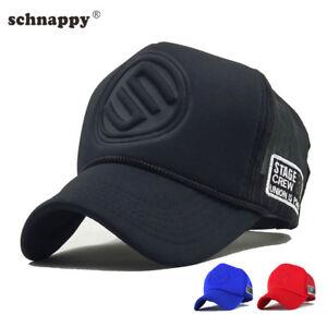 632e4b288cb Mens Stereo Print Hat Black Mesh Baseball Caps Curved Snapback Hip ...