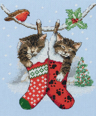 1x Cross Stitch Kit Christmas Kittens Sewing Craft Tool Hobby Art Uk Handig Om Te Koken