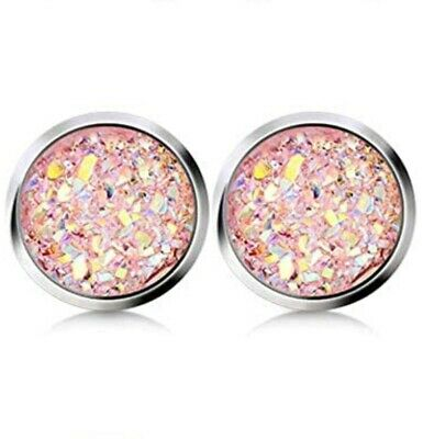 PinkCoral Druzy Stud Earrings