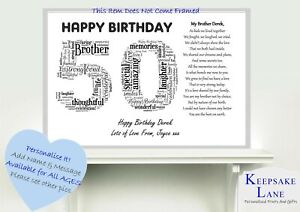 Image Is Loading Personalised Special Brother Poem Word Art 40 50
