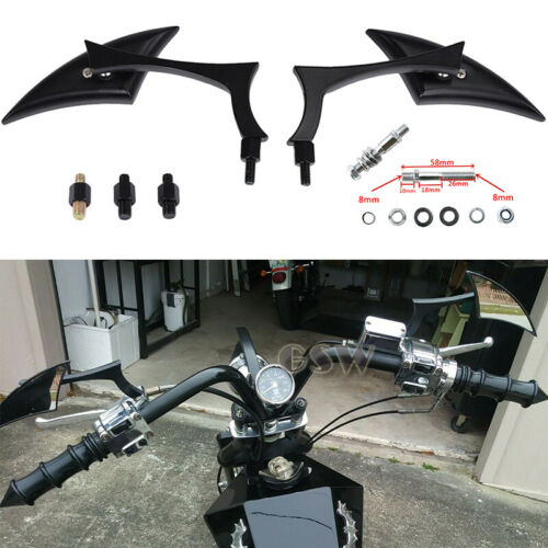 Motorcycle Custom Black Wing Mirrors 8mm//10mm For Harley Touring Cruiser Chopper
