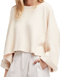 FREE PEOPLE I Can't Wait Oversized Sweater, Cream, Size Small, NWT