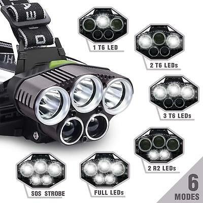 10Pcs 8000Lm Headlight XM-L T6 Waterproof LED 18650 Tactical Headlamps Spotlight