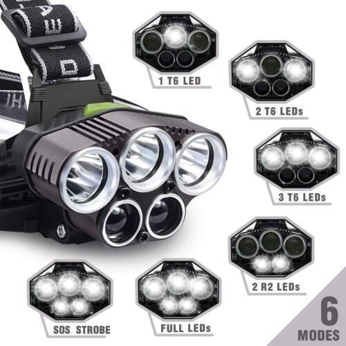 Camp 90000LM 5X T6 LED Headlamp Rechargeable Headlight Flashlight Torch Head