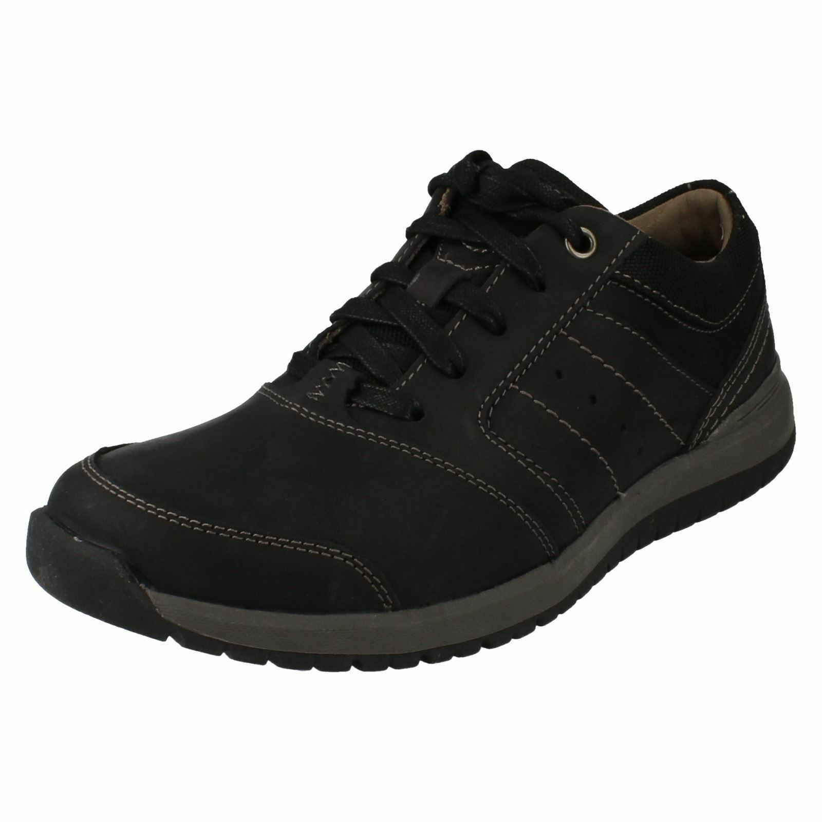 SALE Clarks 'Ryley Street' Men's Black Leather Lace Up Casual shoes G Fit