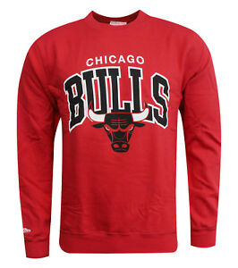 Mitchell   Ness NBA Chicago Bulls Red Mens Long Sleeve Pullover ... 0f8aa6ba1