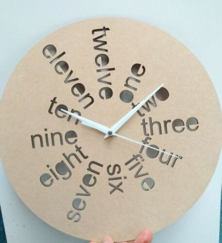 Wooden 20 cm Wall Clock Base without Clock mechanism cutout numbers by Laser