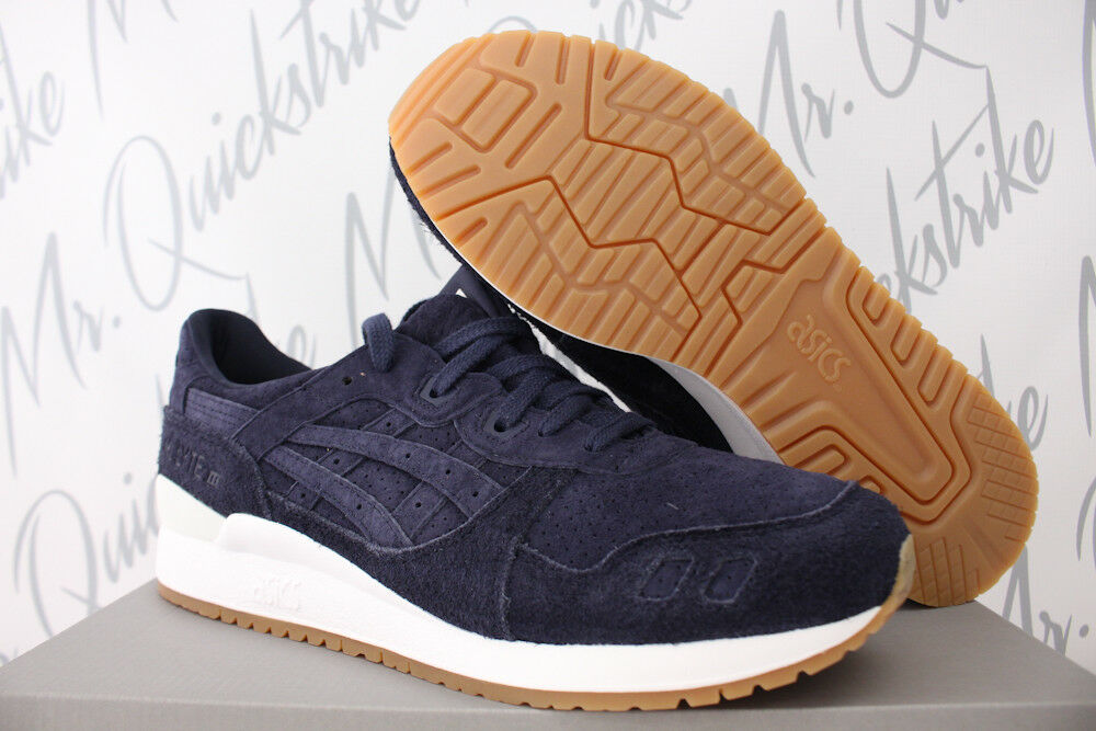 ASICS GEL LYTE III 3 SZ 9.5 PEACOAT NAVY BLUE WHITE GUM BROWN SUEDE HL7X3 5858