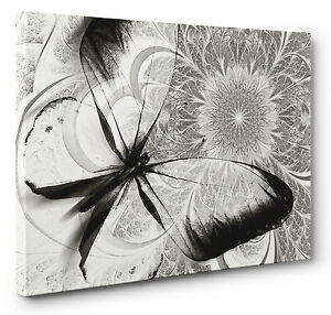 Image Is Loading Abstract Canvas Print Floral Butterfly Black White Grey