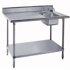 Stainless Prep Table With Sink : ... about 30x48 All Stainless Steel Work Table with Prep Sink on Right