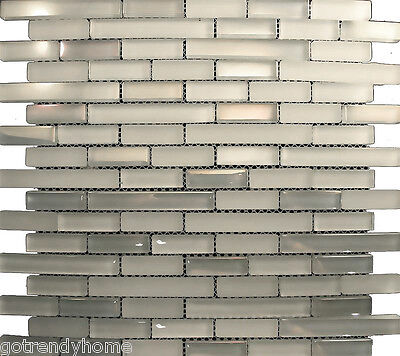 Sample- White Iridescent & Glass Mosaic Tile For Kitchen Backsplash Bath Sink