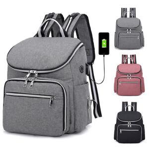 Large-Mummy-Diaper-Bag-USB-Earphone-Port-Baby-Nappy-Travel-Backpack-Bottle-Hold