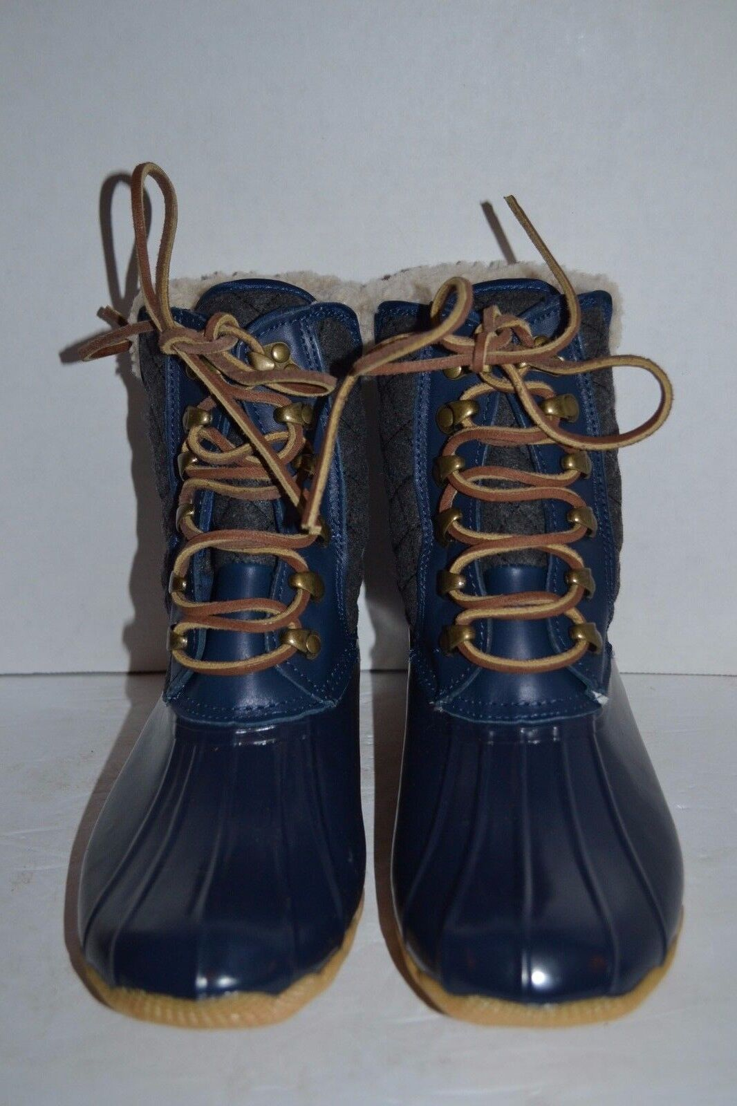 Sperry FOR J CREW Wool Lined SHEARWATER NAVY/CHARCOAL DUCK RUBBER BOOT SNOW RUBBER DUCK 8 M 3e0f5a