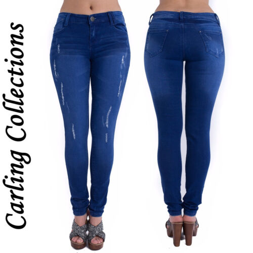 Ladies Womens Skinny Fit Ripped Denim Stretchy Jeans Cotton Pants Trouser Size