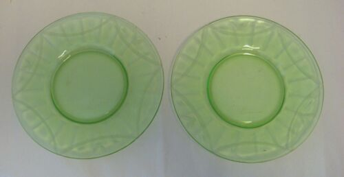 Vintage Vaseline Glass 8 in. Plates with Etched Ribbon Design