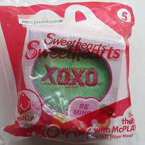 MIP-McDonald-039-s-2014-Sweethearts-5-XOXO-GREEN-HEART-PLUSH-Valentine-Hugs-Kisses