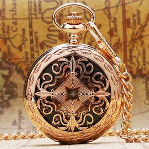 Fashion-Rose-Gold-Hollow-Skeleton-Handwind-Mechanical-Pocket-Watch-Pendant-Chain