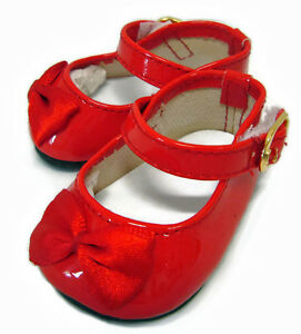 0c352a8cc2a74 Details about CHRISTMAS Red Patent Shoes Satin Bows fits Bitty Baby + Twin  Doll Clothes