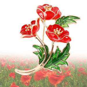 New-Red-Poppy-Brooch-Pin-Badges-Crystal-Flower-Enamel-Brooches-Collection-UK
