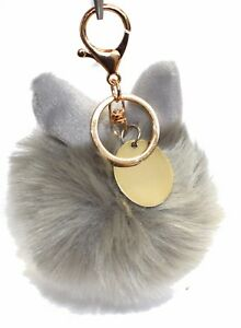 Engraved personalised cute bow grey pom pom ball keyring handbag charm LR53