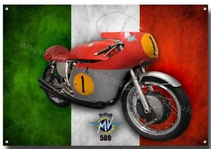 Mv Agusta 500 Motorrad Metall Schild Retro Neueste Mode Klassisches Rennen Motorrad