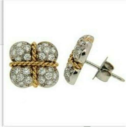 Women 18K Gold Filled 925 Plated Silver Ear Earrings Wedding Engagement Jewelry