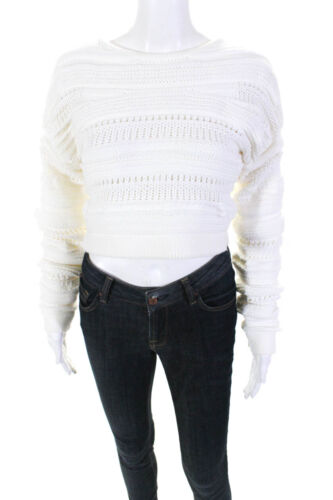 Helmut Lang Womens Solid Chunky Knit Cropped Crewn