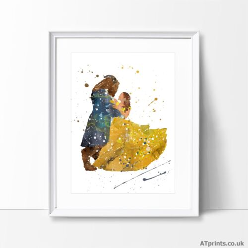Beauty and The Beast Print Poster Watercolour Framed Canvas Wall Art Disney Emma